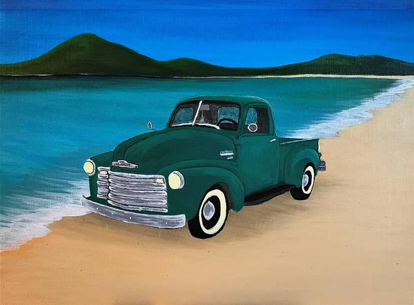 Wall Art - Painting - Truck On The Beach by Willy Proctor