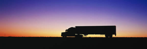 Semi Truck Photograph - Truck Parked On Freeway At Sunrise by Jeremy Woodhouse