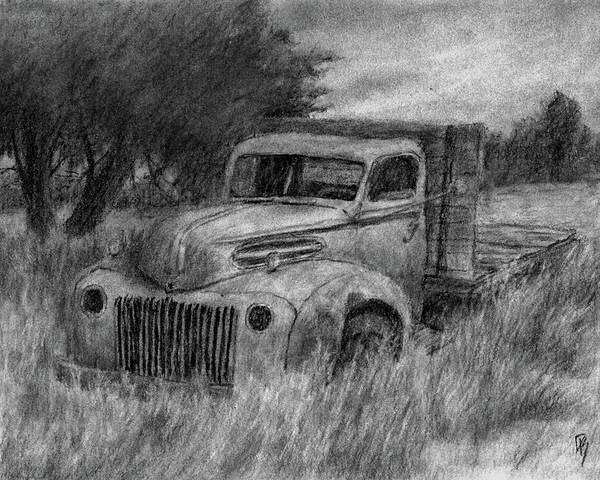 Grass Field Drawing - Truck Study I by David King