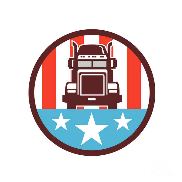 Semi-truck Digital Art - Truck Usa Flag Circle Retro by Aloysius Patrimonio