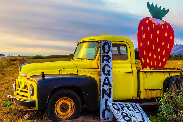 Strawberry Fields Wall Art - Photograph - Truck With Strawberry Sign by Garry Gay