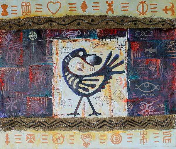 Painting - True African Symbols by Daniel Akortia