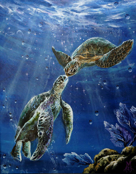 Turtle Painting - True Love's Kiss by Marco Antonio Aguilar