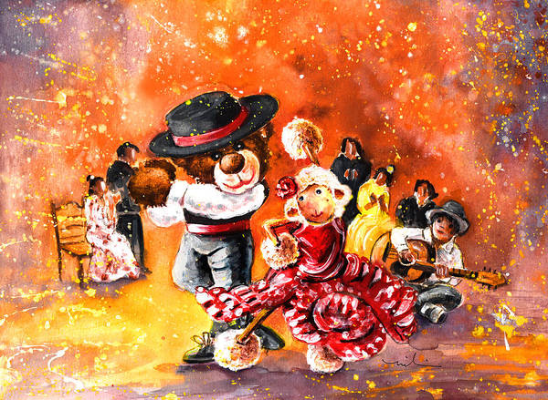 Wall Art - Painting - Truffle Mcfurry And Mary Performing Flamenco by Miki De Goodaboom