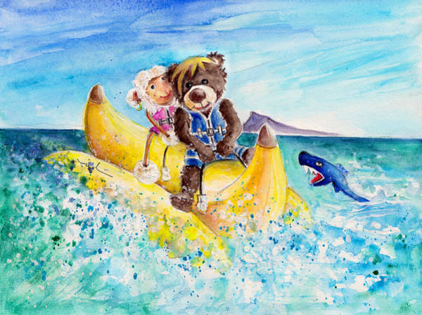 Wall Art - Painting - Truffle Mcfurry And Mary The Scottish Sheep Riding The Banana by Miki De Goodaboom
