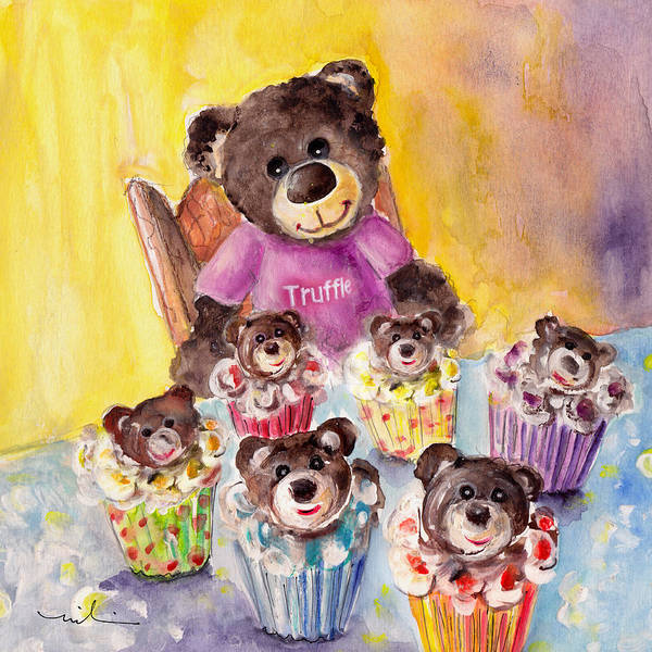 Painting - Truffle Mcfurry And The Bear Cupcakes by Miki De Goodaboom