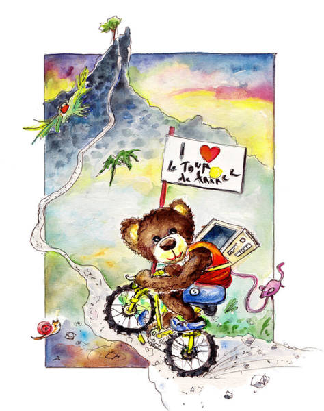 Wall Art - Painting - Truffle Mcfurry At The Tour De France by Miki De Goodaboom