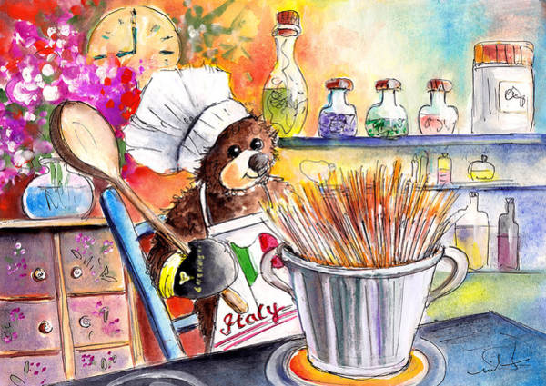 Painting - Truffle Mcfurry Cooking Spaghettis by Miki De Goodaboom