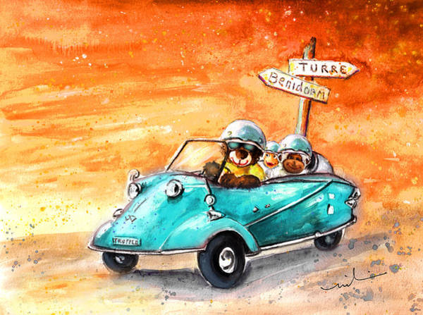 Wall Art - Painting - Truffle Mcfurry Driving To Benidorm by Miki De Goodaboom