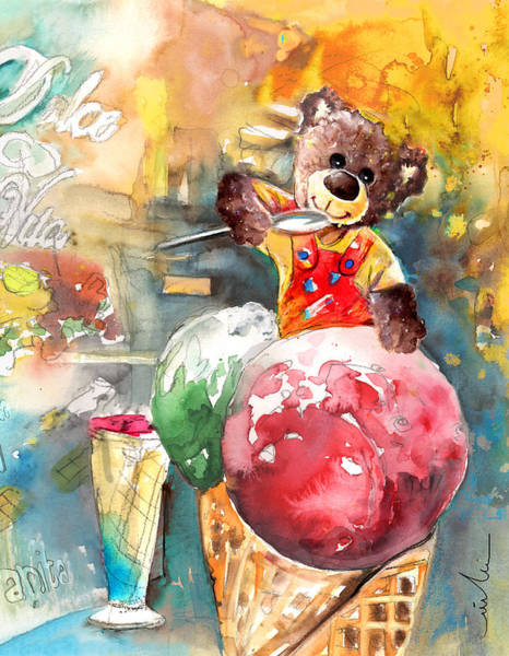 Wall Art - Painting - Truffle Mcfurry Eating Strawberry And Peppermint Ice Cream by Miki De Goodaboom