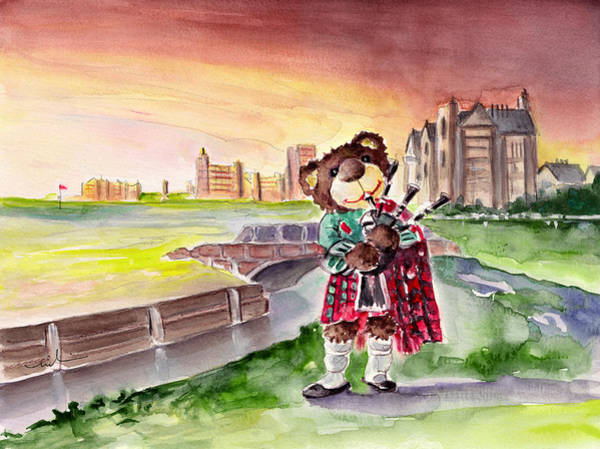 Wall Art - Painting - Truffle Mcfurry Playing The Bagpipes At St Andrews by Miki De Goodaboom