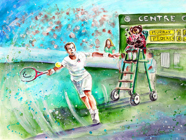 Painting - Truffle Mcfurry Playing The Bagpipes For Andy Murray At Wimbledon by Miki De Goodaboom
