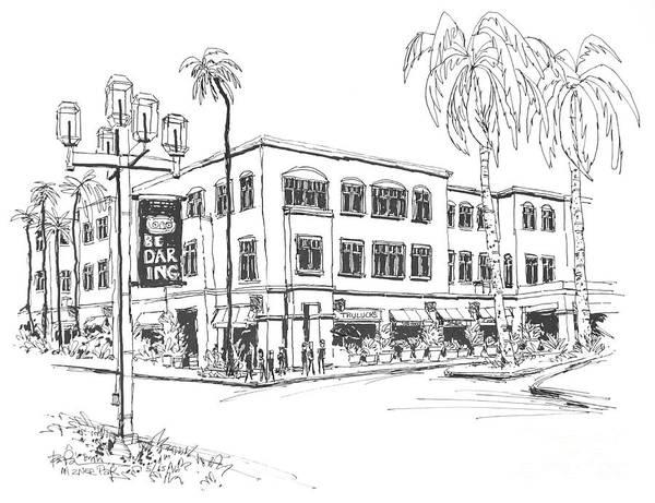 Beautiful Park Drawing - Truluck's Restaurant In Beautiful Mizner Park. Boca Raton, Florida by Robert Birkenes