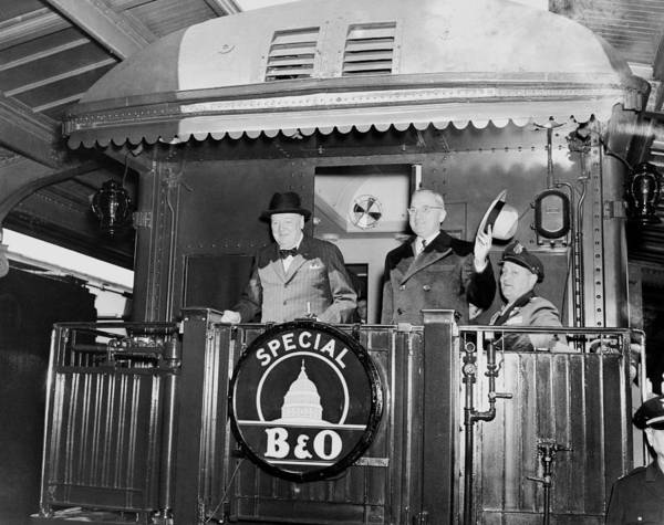 Wall Art - Photograph - Truman And Churchill On Back Of A Train by War Is Hell Store