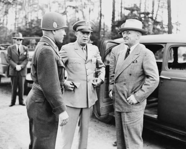 President Photograph - Truman Eisenhower And Hickey  by War Is Hell Store