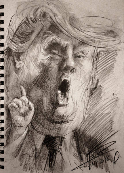 Election 2016 Painting - Trump A Dengerous A-hole by Ylli Haruni