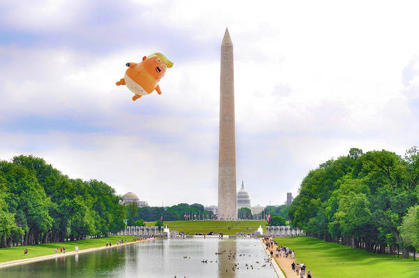 Wall Art - Photograph - Trump Baby Blimp Over Washington - America Is Already Great by Bill Cannon
