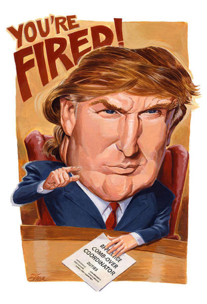 Bad Hair Wall Art - Painting - Trump Fires Back by Shawn Shea