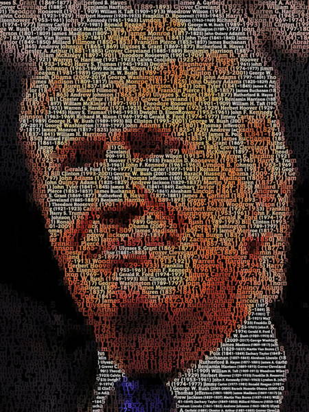 Election 2016 Painting - Trump Presidents Mosaic by Paul Van Scott