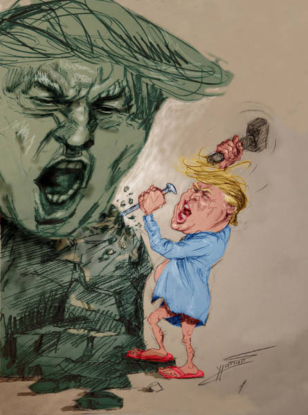 Election Wall Art - Painting - Trump Shaping The Future  by Ylli Haruni
