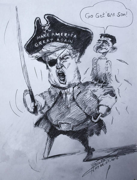 Election Wall Art - Drawing - Trump, Short Fingers Pirate With Ryan, The Bird  by Ylli Haruni