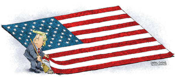 Drawing - Trump Sweeps Under The Flag Rug by Daryl Cagle