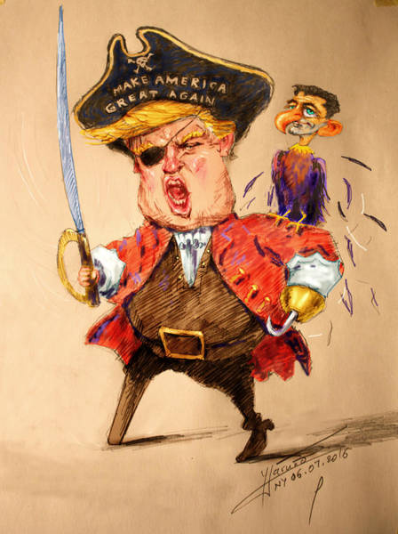 Election Wall Art - Painting - Trump, The Short Fingers Pirate With Ryan, The Bird by Ylli Haruni
