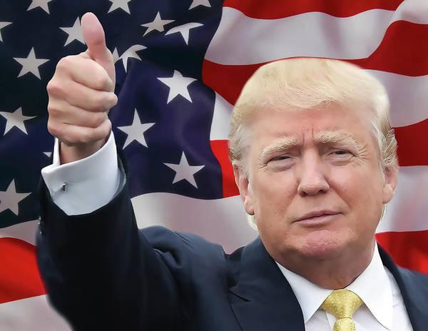Straight Digital Art - Trump Thumbs Up 2016 by Daniel Hagerman