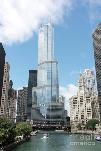 Trump Tower Overlooking The Chicago River Art Print