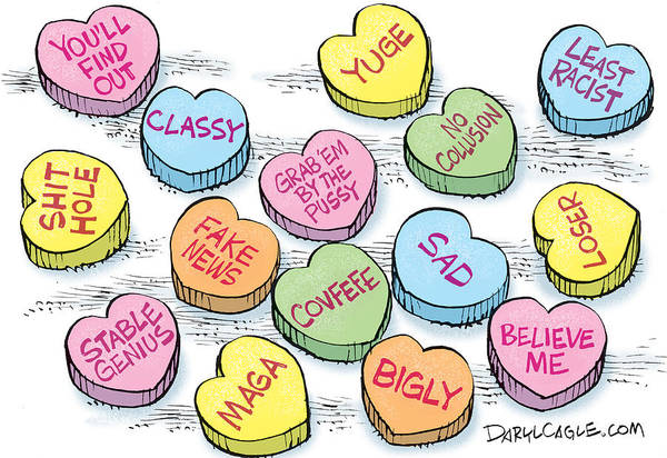 Drawing - Trump Valentines Candy Uncensored by Daryl Cagle