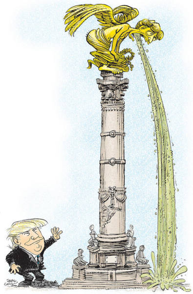 Drawing - Trump Visits Mexico by Daryl Cagle