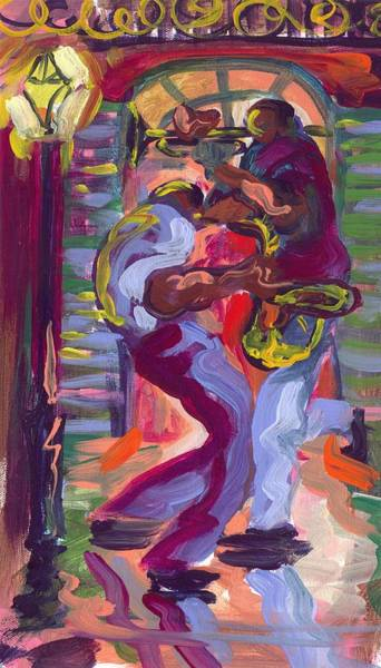 Wall Art - Painting - Trumpet And Saxophone Two by Saundra Bolen Samuel