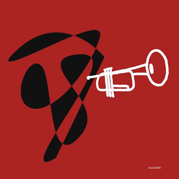 Digital Art - Trumpet In Orange Red by David Bridburg