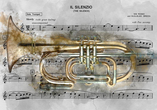 Musical Theme Painting - Trumpet Music Theme 2 - By Diana Van by Diana Van
