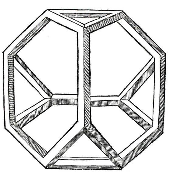 Minimal Wall Art - Drawing - Truncated Tetrahedron With Open Faces  Tetraedron Abscisum Vacuum by Leonardo da Vinci