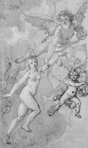 Nude Ladies Drawing - Truth Is The Daughter Of Time by Federico Zuccaro