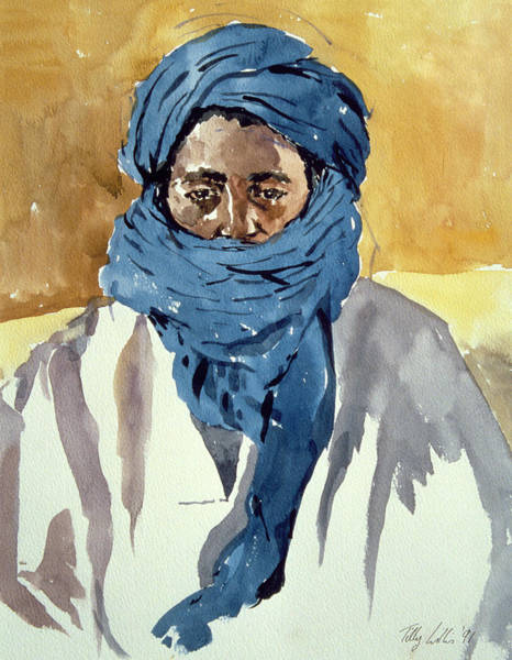Blue Dress Painting - Tuareg Tribesman by Tilly Willis