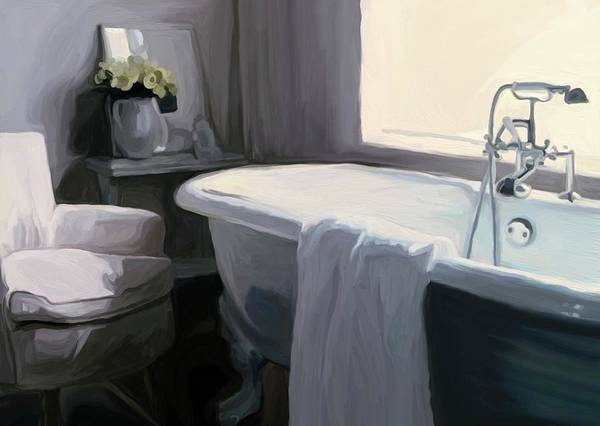 Tub Wall Art - Painting - Tub In Grey by Patti Siehien