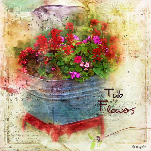 Photograph - Tub Of Flowers by Anna Louise