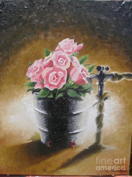 Southern Charm Painting - Tub Of Roses by Chuck Collins