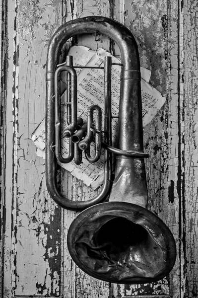 Wall Art - Photograph - Tuba And Music On Door In Black And White by Garry Gay