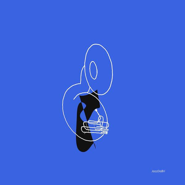 Digital Art - Tuba In Blue by David Bridburg
