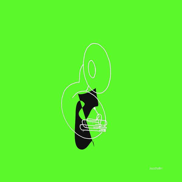 Digital Art - Tuba In Green by David Bridburg
