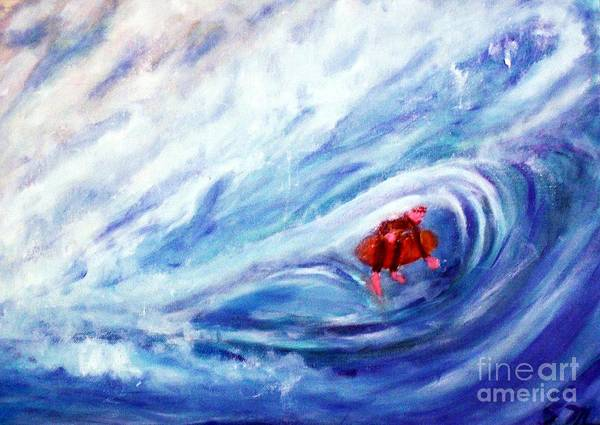 Painting - Tube Riding The Banzai Pipeline Redux by Stanley Morganstein