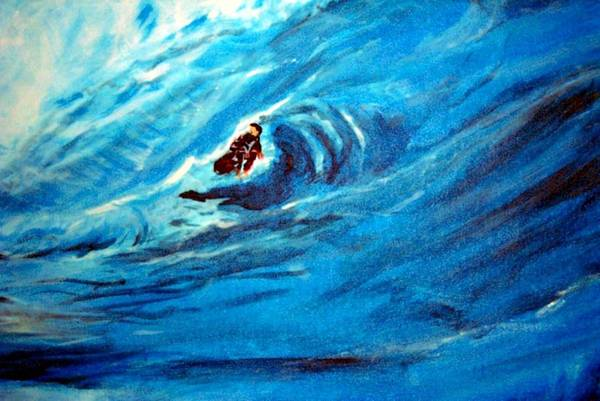Painting - Tube Riding The Banzai Pipeline by Stanley Morganstein