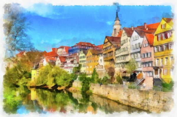 Painting - Tubingen Germany Neckarfront Aquarell Painting by Matthias Hauser