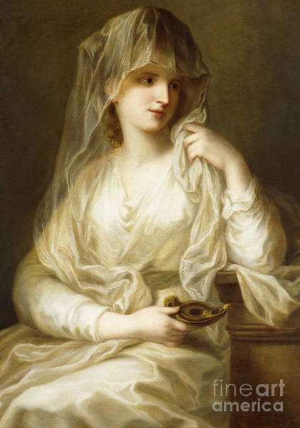 Druid Wall Art - Painting - Tuccia, The Vestial Virgin, Three Quarter Length, Holding A Lamp by Angelica Kauffmann