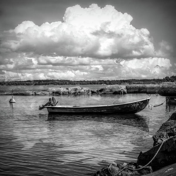 Photograph - Tucked In The Harbor In Black And White by Debra and Dave Vanderlaan