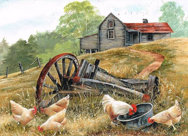 Fencepost Painting - Tucker Time by Val Stokes