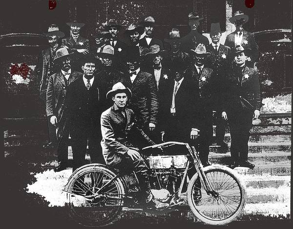 Photograph - Tucson Police Department   1st Motorcycle City Hall Steps Number One Tucson Arizona C.1917 Color Add by David Lee Guss